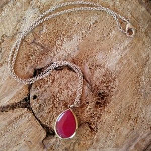New! 14k RG Raw RaspberryRuby necklaces